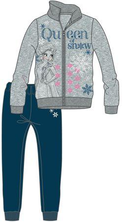 Disney by Arnetta komplet dekliške trenirke Frozen 98, siva/modra