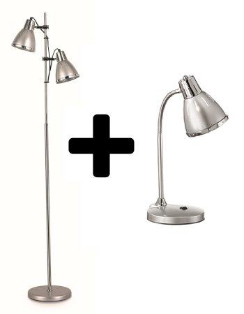 Ideal Lux Stojací lampa Elvis stříbrná + stolní lampa dárek