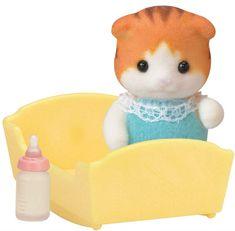 Sylvanian Families figurka - dziecko kotków Klonowych, z łóżeczkiem
