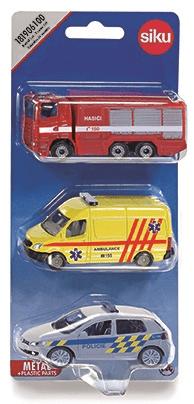 SIKU cseh verzió - mix készlet rendőrség, tűzoltóság, mentők