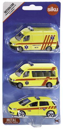 SIKU Sada 3 vozidel ambulance - česká verze