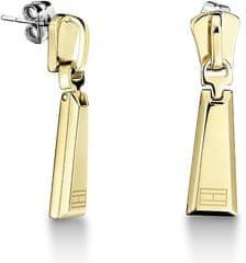 Tommy Hilfiger Pozlátené oceľové náušnice v tvare zipsu TH2700754