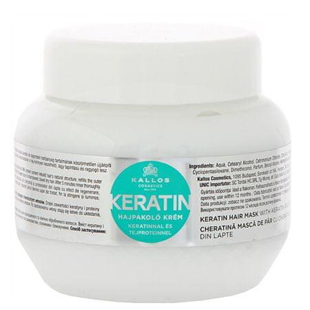 Kallos Regeneráló hajpakolás keratinnal és tejproteinnel(Keratin Hair Mask) (mennyiség 275 ml)