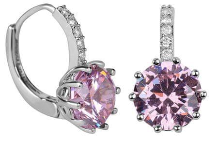Troli Csillogó fülbevalók rózsaszín kristályokkal