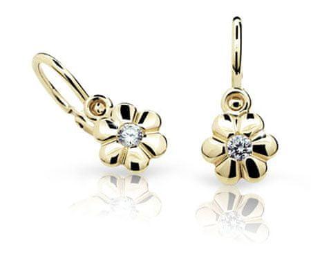 Cutie Jewellery Otroški uhani C1736-10-X-1 (Barva fuchsiová) rumeno zlato 585/1000