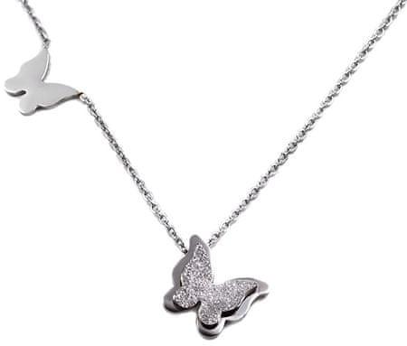 Troli Kovinska ogrlica iz jeklenih metuljev Kovinski metulj KNSC-257-SIL