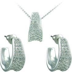 MHM Komplet nakita Leona Crystal 34106 (uhani, veriga, obesek) srebro 925/1000