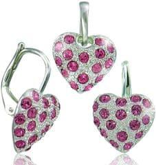MHM biżuteria serce zestaw różowy 34109 srebro 925/1000