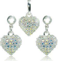 MHM Set nakita Heart M4 Crystal AB 3489 (uhani, veriga, obesek) srebro 925/1000
