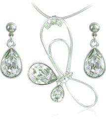 MHM Souprava šperků Debia Crystal 34132 (náušnice, řetízek, přívěsek) stříbro 925/1000