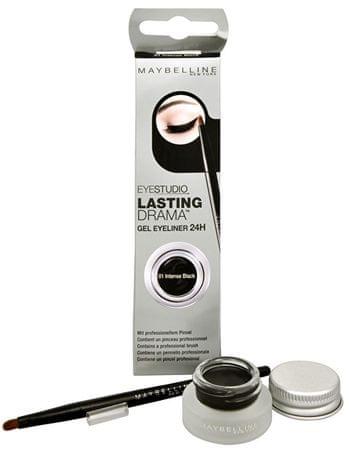 Maybelline Eyestudio Lasting Drama gél állagú szemhéjtus(Gel Eyeliner 24H) 2,8 g (árnyalat 01 Intense Black)