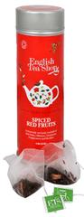 English Tea Shop Čaj korenené červené ovocie - plechovka s 15 bioodbouratelnými pyramídkami