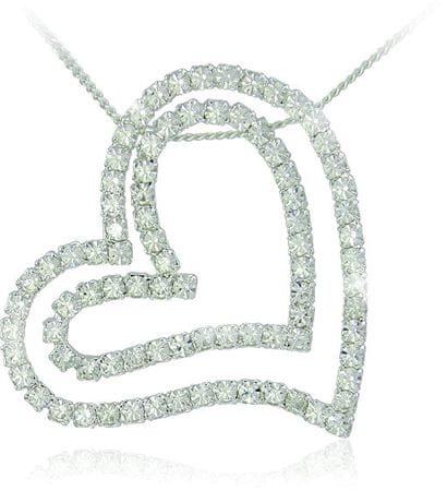 MHM Kristály szív nyaklánc Double 31139(lánc, medál) ezüst 925/1000