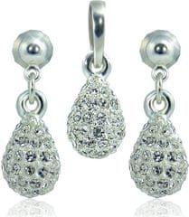 MHM Komplet nakita Drop M4 Crystal 3401 (uhani, veriga, obesek) srebro 925/1000