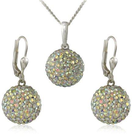 MHM Komplet nakita Beads M5 Crystal AB 34159 (uhani, veriga, obesek) srebro 925/1000