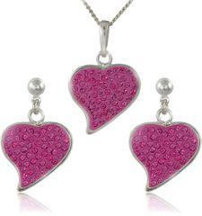 MHM Souprava šperků Srdce M5 Rose 34166 (náušnice, řetízek, přívěsek) stříbro 925/1000