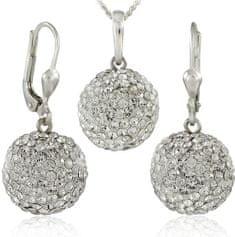 MHM Souprava šperků Kuličky M5 Crystal 34157 (náušnice, řetízek, přívěsek) stříbro 925/1000