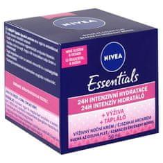 Nivea Výživný regenerační noční krém pro suchou a citlivou pleť Essentials 50 ml