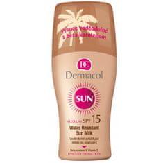 Dermacol Vodeodolné zvláčňujúce mlieko na opaľovanie v spreji SPF 15 Sun (Water Resistant Sun Milk) 200 ml