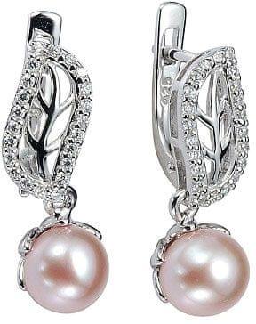 121350e23 Stříbrné náušnice zdobené perlou a křišťálem FNJE0707-PP stříbro 925/1000  ...