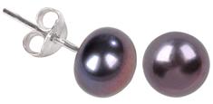 JwL Luxury Pearls Náušnice z pravých kovovo modrých perál JL0028 striebro 925/1000