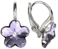 Troli Dievčenské strieborné náušnice Flower Violet striebro 925/1000
