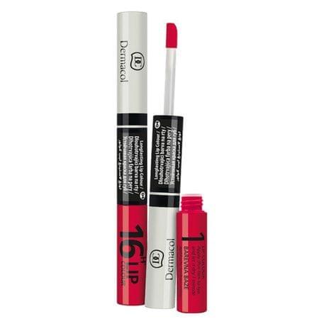 Dermacol 16h Lip Colour hosszan tartó ajakrúzs és szájfény 2 az 1-ben (árnyalat No.1 )