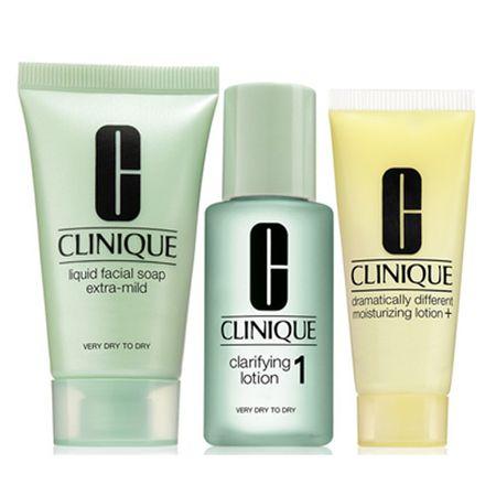 Clinique Tisztító arcápolás száraz és extra száraz bőrre (3-Step Introduction Kit Skin Type 1)