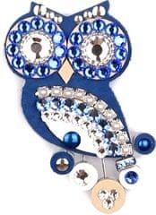 Sovičky Malá sovie brošňa modrá