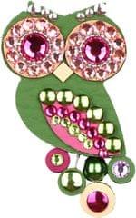 Sovičky Mała zielona sowa broszka