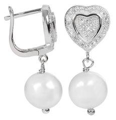 JwL Luxury Pearls Biserni uhani z belim desnim biserjem JL0103 srebro 925/1000