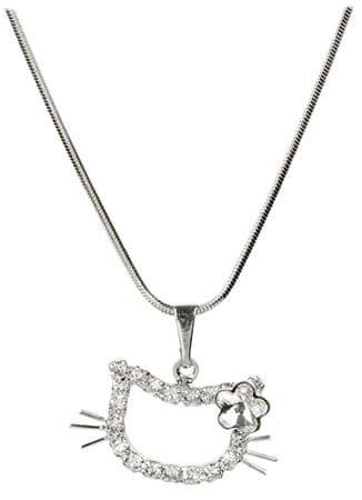 Troli Dívčí náhrdelník Kočička s kytičkou Crystal