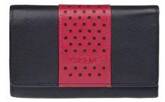 Lagen Női bőr pénztárca fekete / vörös V16