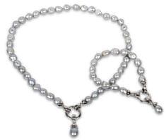 JwL Luxury Pearls Komplet ogrlice in zapestnice iz pravih sivih biserov JL0131