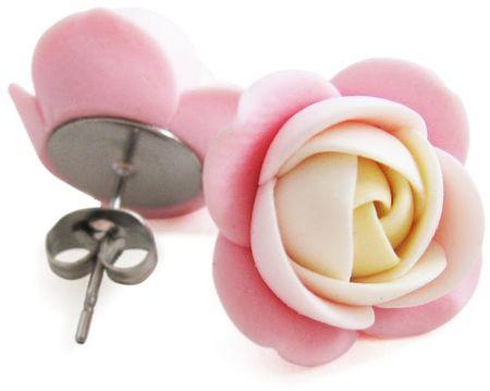 Troli Krém-rózsaszín bedugós virág fülbevaló
