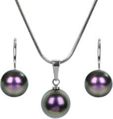 Troli Ogrlica z bisernimi šarenimi vijoličnimi ogrlicami in uhani