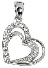 Silver Cat Stříbrný přívěsek ve tvaru srdce s krystaly SC169 stříbro 925/1000