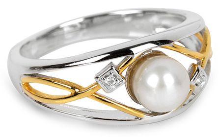 Silver Cat Ezüst gyűrű gyönggyel és kristályokkal SC151 (áramkör 54 mm) ezüst 925/1000