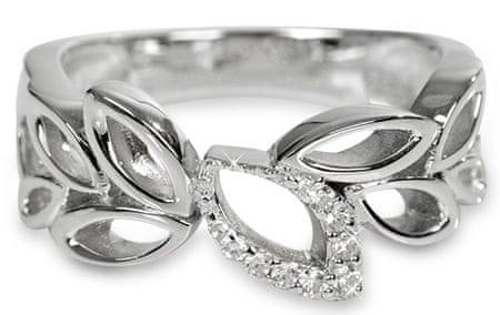 Silver Cat Levél formájú ezüst gyűrű kristályokkal díszítve SC148 (áramkör 54 mm) ezüst 925/1000