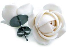 Troli Biele náušnice puzetky kytičky