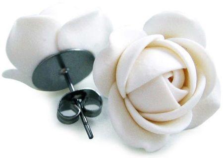 Troli Biały kwiat kolczyki puzetky
