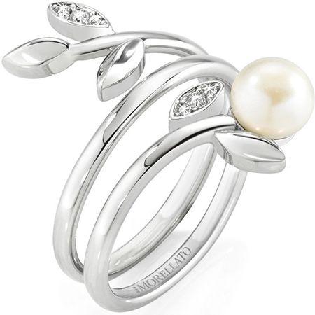 Morellato pierścień ze stali nierdzewnej z perłowym Gioia SAER26 (obwód 54 mm)