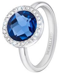 Morellato Jeklen prstan z modrim kristalom Essenza SAGX15