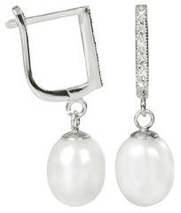JwL Luxury Pearls Elegáns fülbevaló gyönggyel és kristállyal díszítve JL0187 ezüst 925/1000