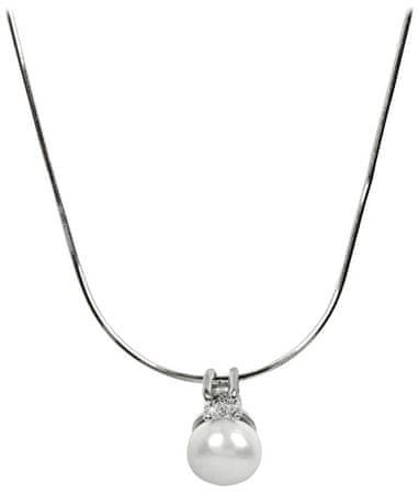 JwL Luxury Pearls Srebrna ogrlica z bisernim in kristalnim vzorcem JL0197 (veriga, obesek) srebro 925/1000