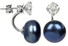 JwL Luxury Pearls Ezüst dupla fülbevaló kék színű igazgyönggyel és kristállyal JL0225 ezüst 925/1000