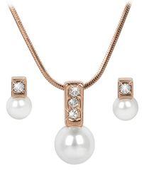 Troli Bronzová sada náhrdelníkov a náušníc Pearl Caorle White