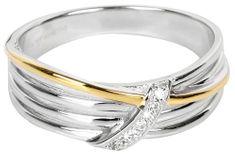 Silver Cat Pozłacany pierścień srebrny z cyrkonem SC189 srebro 925/1000