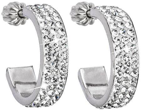 Evolution Group Srebrni uhani polkroži iz kristala 31119.1 srebro 925/1000