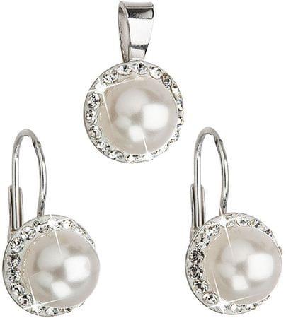 Evolution Group Swarovski kristályokkal és fehér színű gyöngyökkel díszített ékszer szett39091.1 ezüst 925/1000